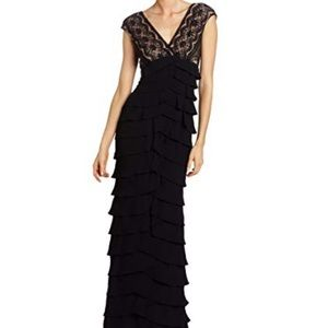 Adrianna Papell long formal black lace gown. 14